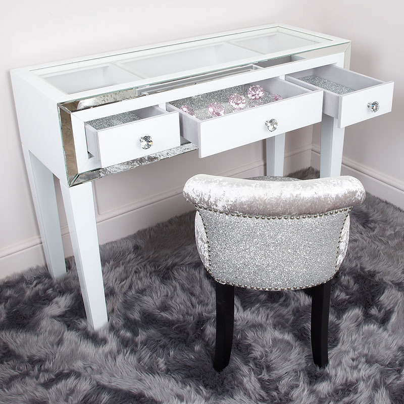 Madison White Glass Amp Mirrored Trim Clear Top 3 Drawer Dressing Table Picture Perfect Home