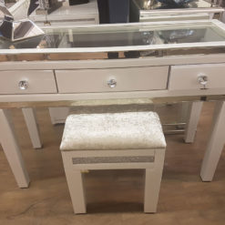 Madison White Mirrored Dressing Table with Clear Top And Crystalline Stool Set