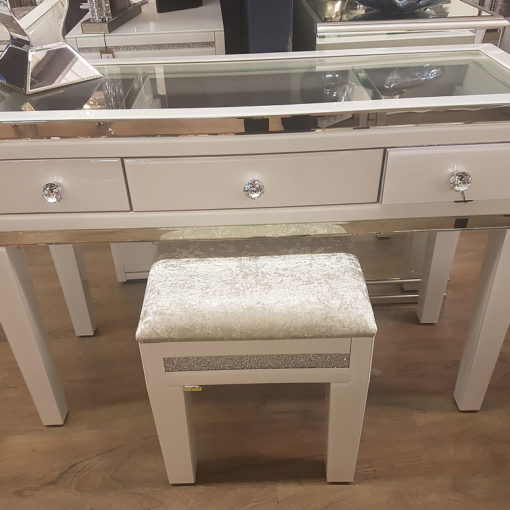 Madison White Mirrored Dressing Table And Crystalline Stool Set