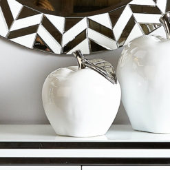 Medium White & Silver Apple Decoration Ornament