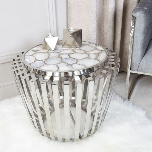 Paragon White Stainless Steel Drum Shape End Table With Agate Top