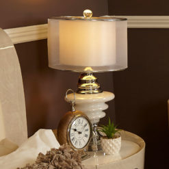 Pearl Glass Chrome Orbit Table Lamp With 2 Layer Sheer Silk Shade