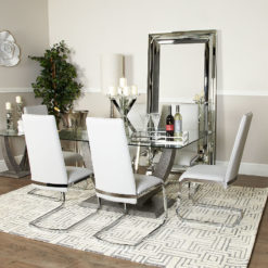SET Caspian Toughened Glass Chrome Dining Room Table & 6 Six Chairs