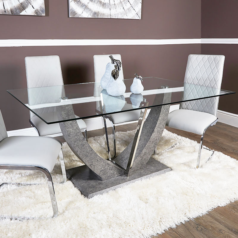 Set Caspian Toughened Glass Chrome Dining Room Table And 6 Light Grey Chairs Picture Perfect Home