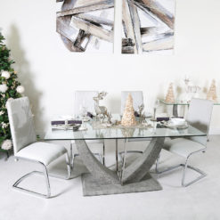 SET Caspian Toughened Glass Chrome Dining Room Table and 6 Light Grey Chairs