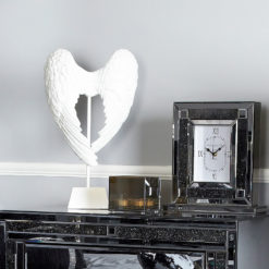 Shiny White Angel Wings Sculpture Decoration Ornament