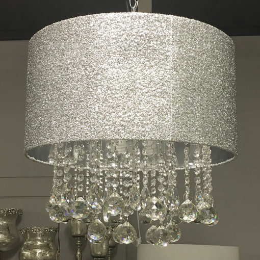 Sparkly Silver Crushed Crystal Droplets Ceiling Pendant Light Fitting