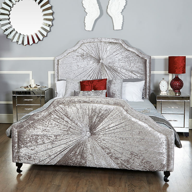 Starlight Grey Silver Velvet Upholstered King Size Bed Frame Picture Perfect Home
