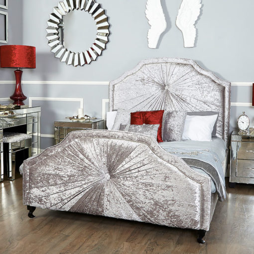 Starlight Grey Silver Velvet Upholstered King Size Bed Frame