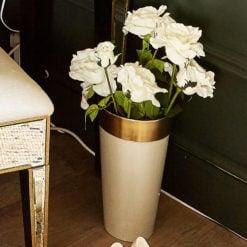 White And Gold Round Vase 33cm