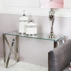 Zenn Contemporary Stainless Steel Clear Glass Console Hall or Vanity Dressing Table