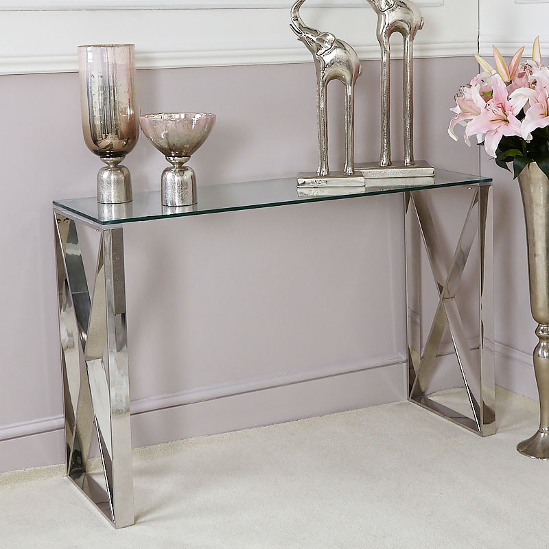 Zenn Contemporary Stainless Steel Clear Glass Console Hall