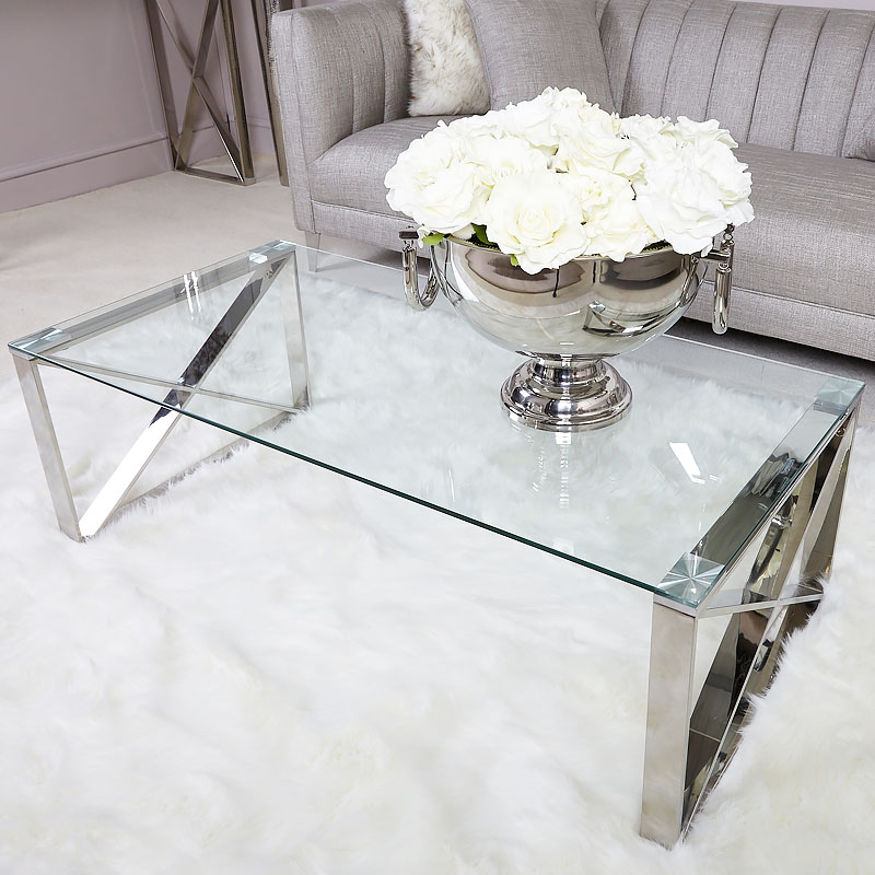 Modern Designer Large Round Coffee Table Glass Top Stainless Steel: Zenn Contemporary Stainless Steel Clear Glass Lounge