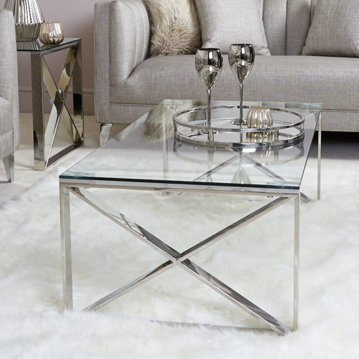 Zenn Contemporary Stainless Steel Clear Glass Lounge Coffee Table