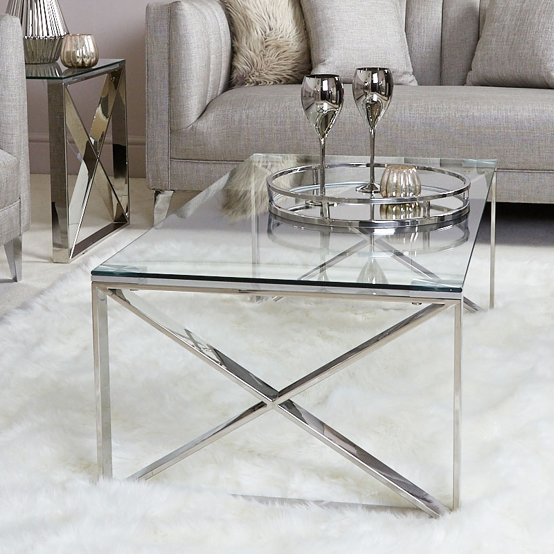 Zenn Contemporary Stainless Steel Clear Glass Lounge