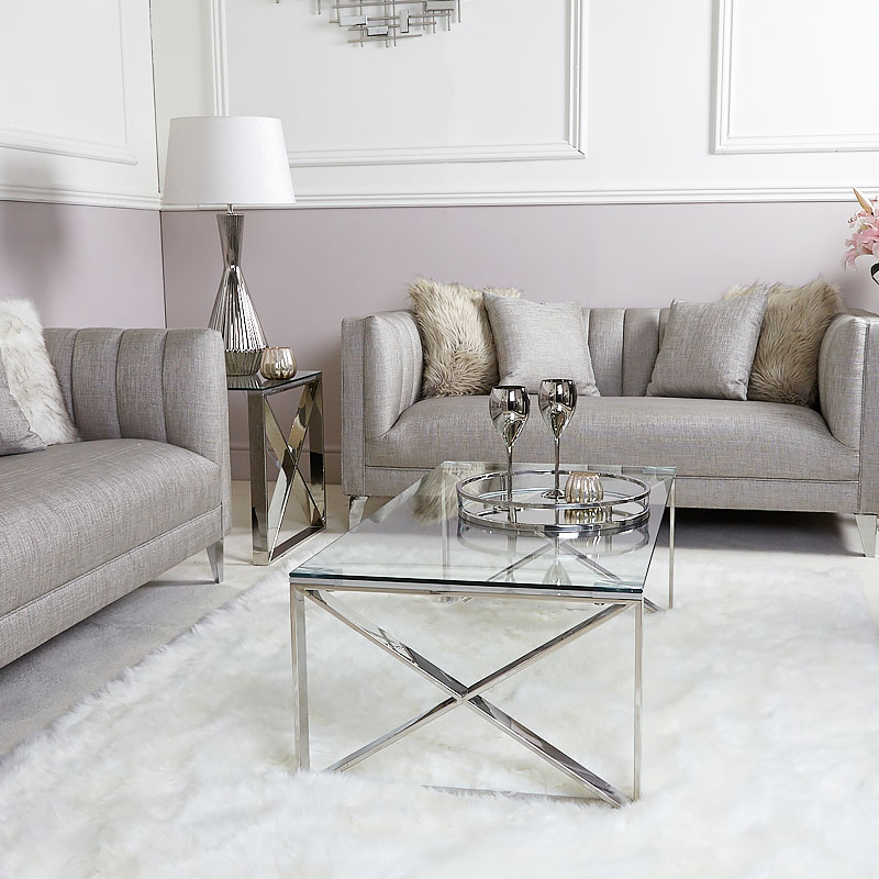 Contemporary Glass Coffee Tables Uk: Zenn Contemporary Stainless Steel Clear Glass Lounge