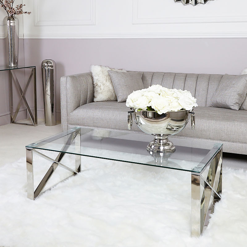 Puro Glass Coffee Table Clear: Zenn Contemporary Stainless Steel Clear Glass Lounge