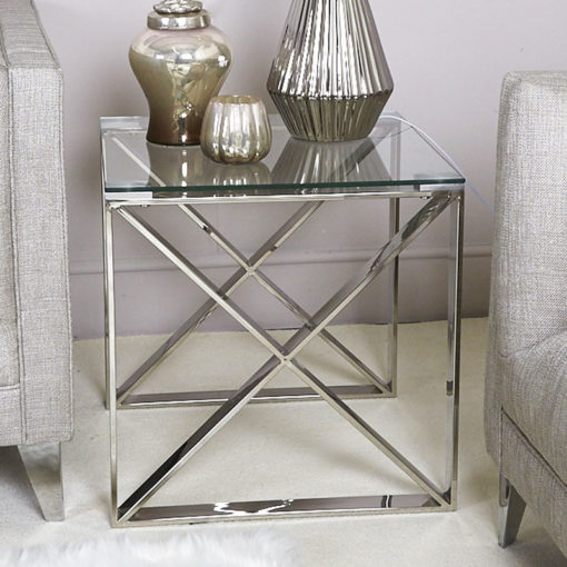 Zenn Contemporary Stainless Steel Clear Glass Side End Display Table