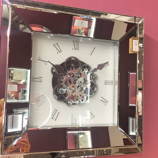 60cm Mirrored White And Clear Wall Clock With Moving Gears