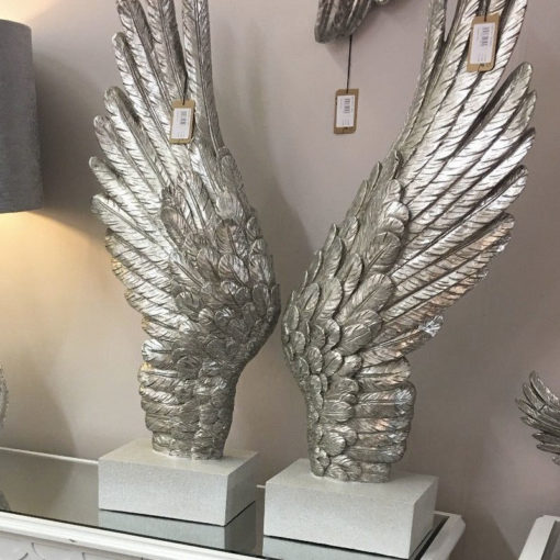 Antique Silver Large Right Angel Wing Decor