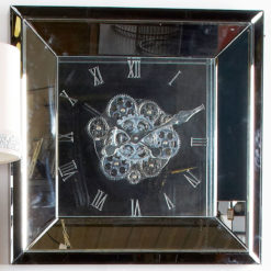 Arctic Noir 60cm Smoked Mirrored Wall Clock With Moving Gears