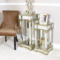 Athens Gold Mirrored Telephone Table Side Table End Table