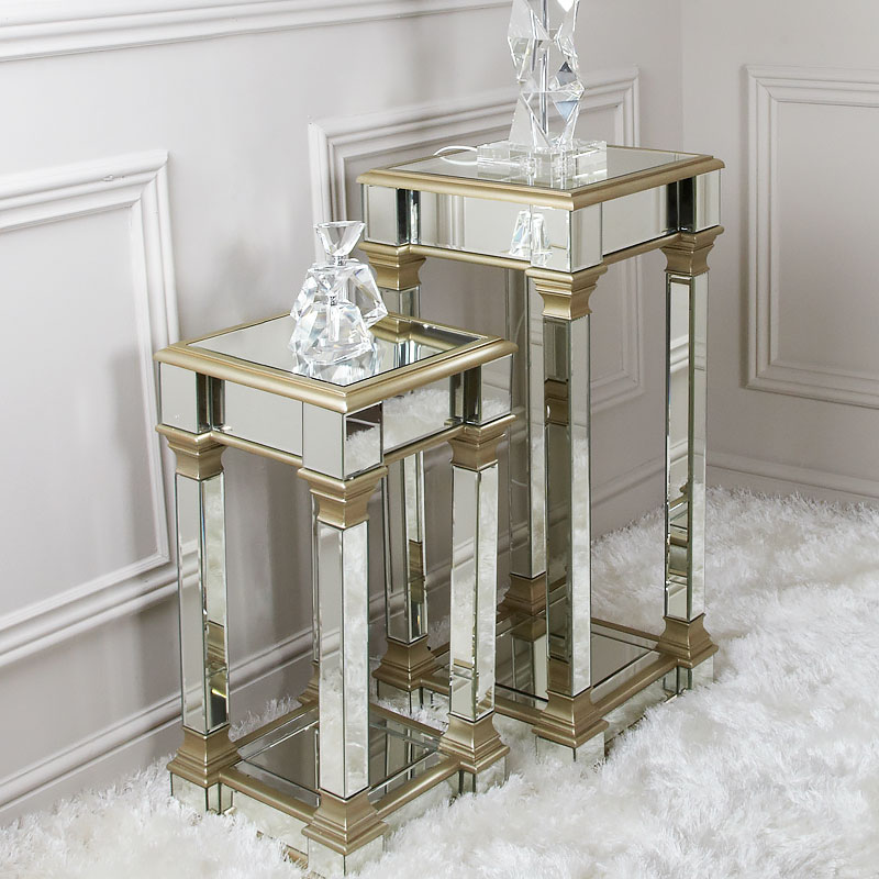 athens gold mirrored telephone table side table end table 71cm picture perfect home. Black Bedroom Furniture Sets. Home Design Ideas