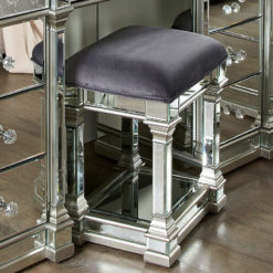 Athens Mirrored Dressing Stool in Silver