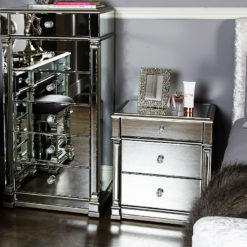 Athens Silver Mirrored 3 Drawer Chest Bedside Cabinet Table