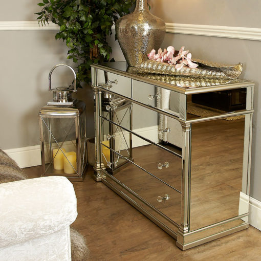 Athens Silver Mirrored 5 Drawer Chest Of Drawers Cabinet