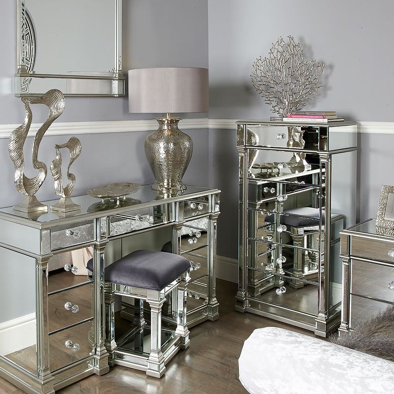 Athens Silver Mirrored 6 Drawer Tallboy Chest Of Drawers