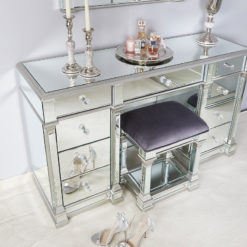 Athens Silver Mirrored 9 Drawer Dressing Table