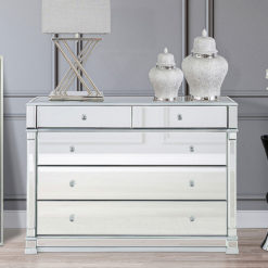 Athens Silver Venetian Mirrored 5 Drawer Chest Of Drawers Cabinet