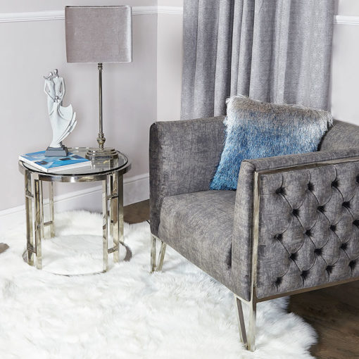 Atticus Chrome And Tempered Glass End Side Table