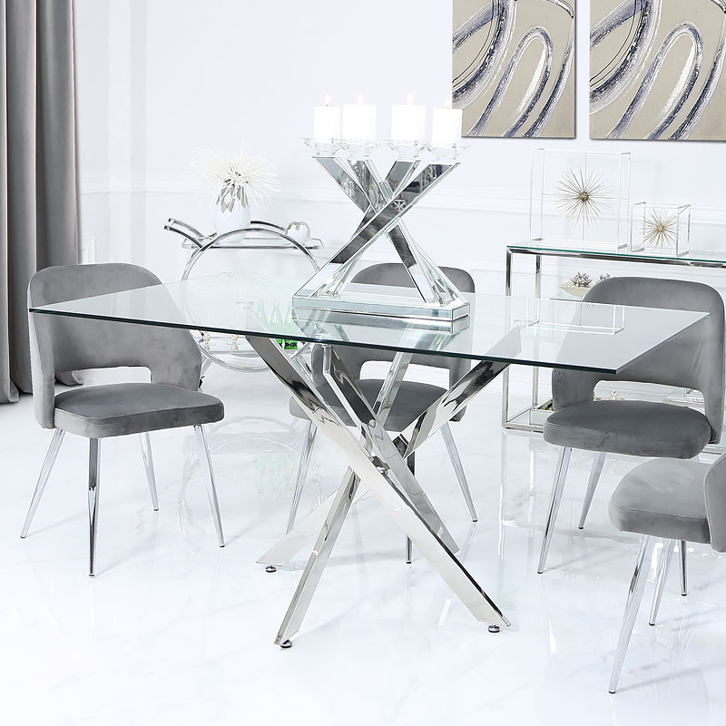 Aurelia Chrome And Glass Rectangular Dining Table 160cm Picture Perfect Home