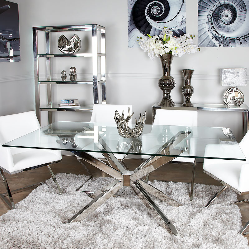 debonaire glass and chrome dining table picture perfect home. Black Bedroom Furniture Sets. Home Design Ideas