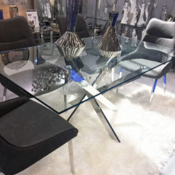 Aurelia Chrome And Glass Rectangular Dining Table