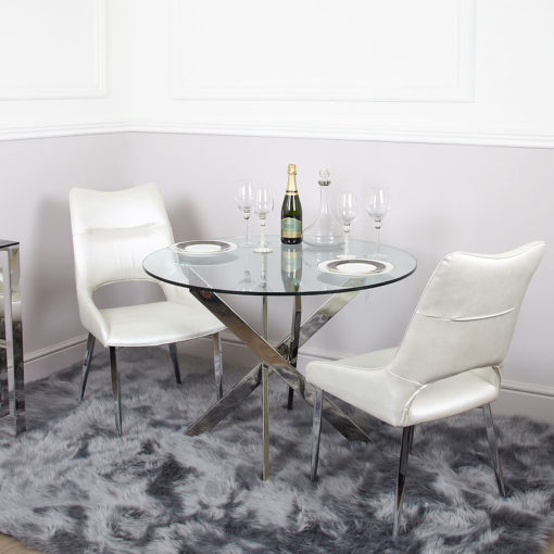 Aurelia Chrome And Glass Round Dining Table