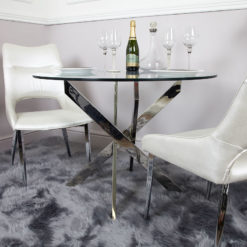 Aurelia Chrome And Glass Round Dining Table