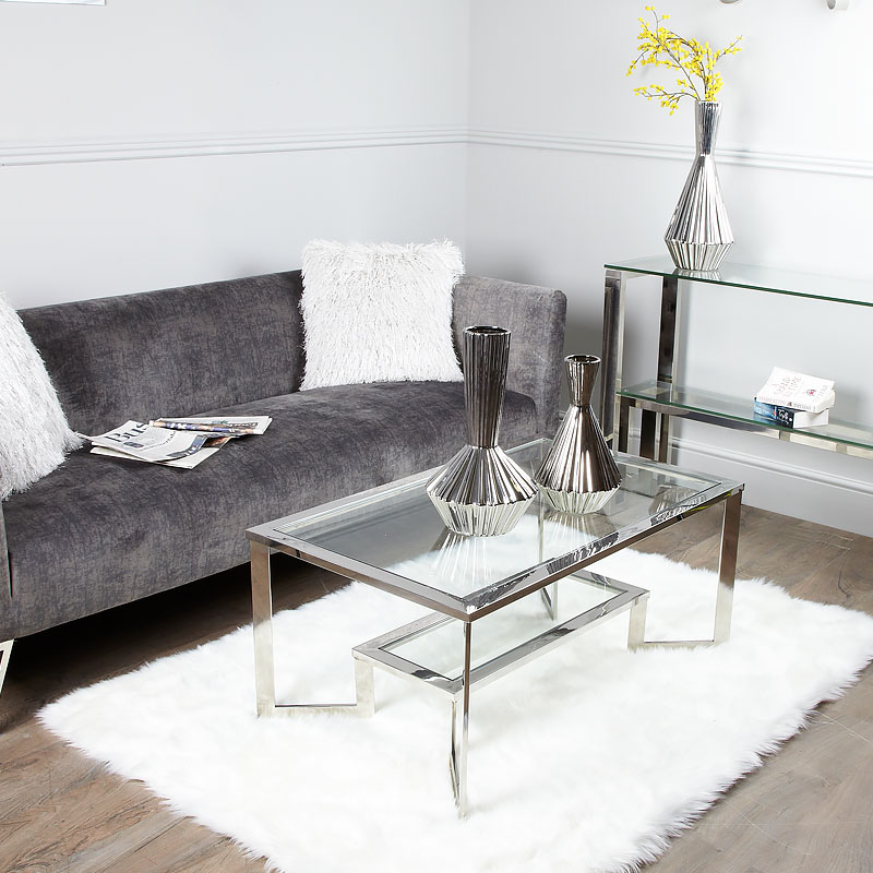Axton Chrome And Glass Coffee Table Picture Perfect Home