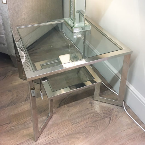 Axton Chrome And Glass Side End Table