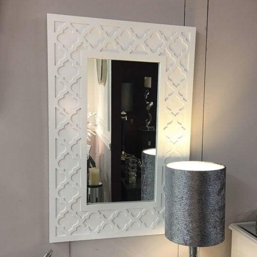 Blanca White Wooden Frame Framed Wall Dressing Mirror 60cm x 90cm