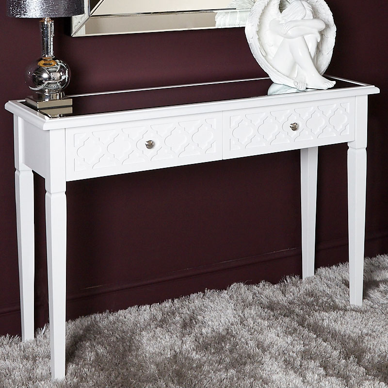 uk availability 8bc35 e59e3 Blanca White Wooden Mirror Top 2 Drawer Console Dressing Table | Picture  Perfect Home