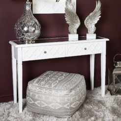 Blanca White Wooden Mirror Top 2 Drawer Console Dressing Table