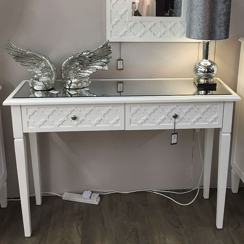 Blanca White Wooden Mirror Top 2 Drawer Console Dressing