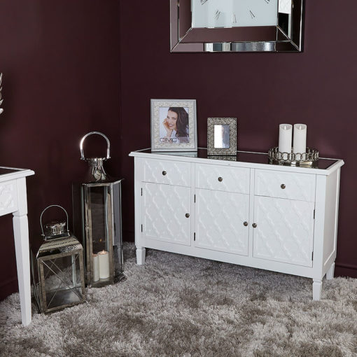 Blanca White Wooden Mirror Top 3 Door 3 Drawer Chest Cabinet Sideboard
