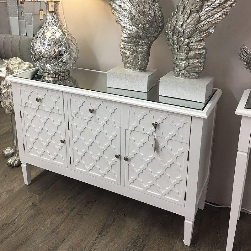 Blanca White Wooden Mirror Top 3 Door 3 Drawer Chest