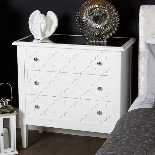 Blanca White Wooden Mirror Top Chest 3 Drawer Chest Of Drawers Cabinet