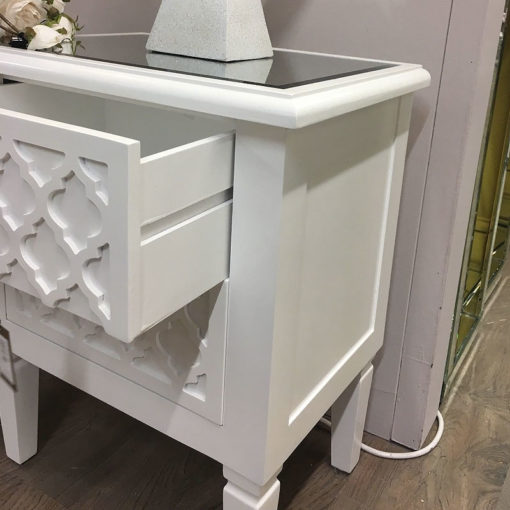 Blanca White Wooden Mirrored Top Chest 2 Drawer Bedside Table Cabinet