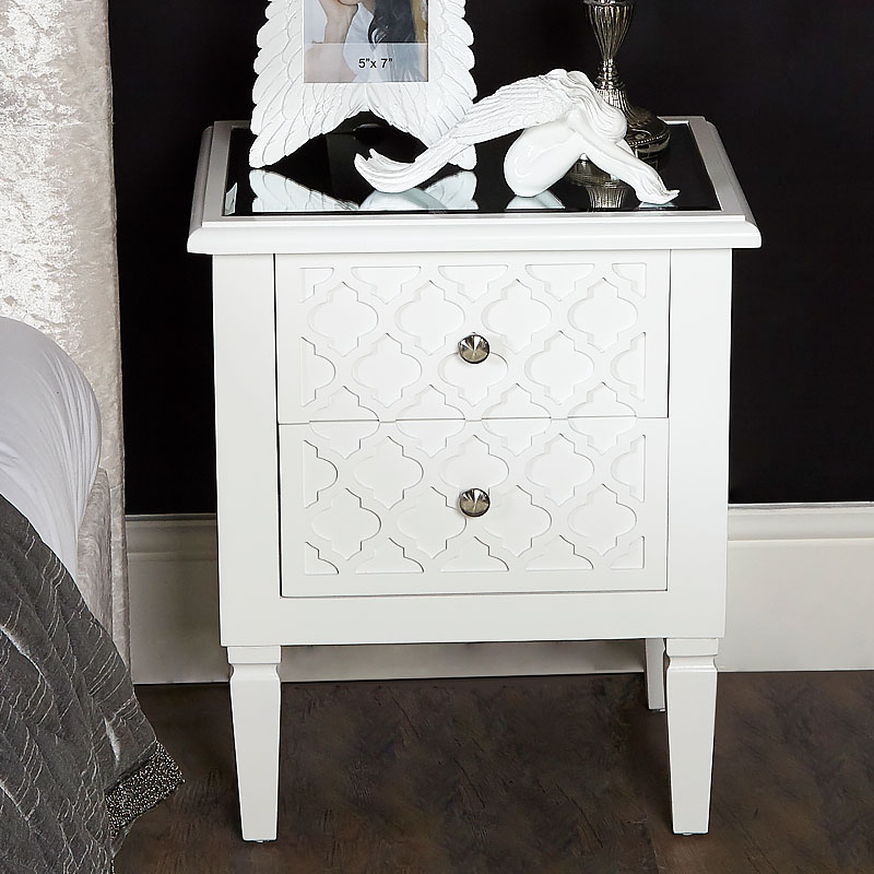Blanca White Wooden Mirrored Top Chest 2 Drawer Bedside Table Cabinet Picture Perfect Home